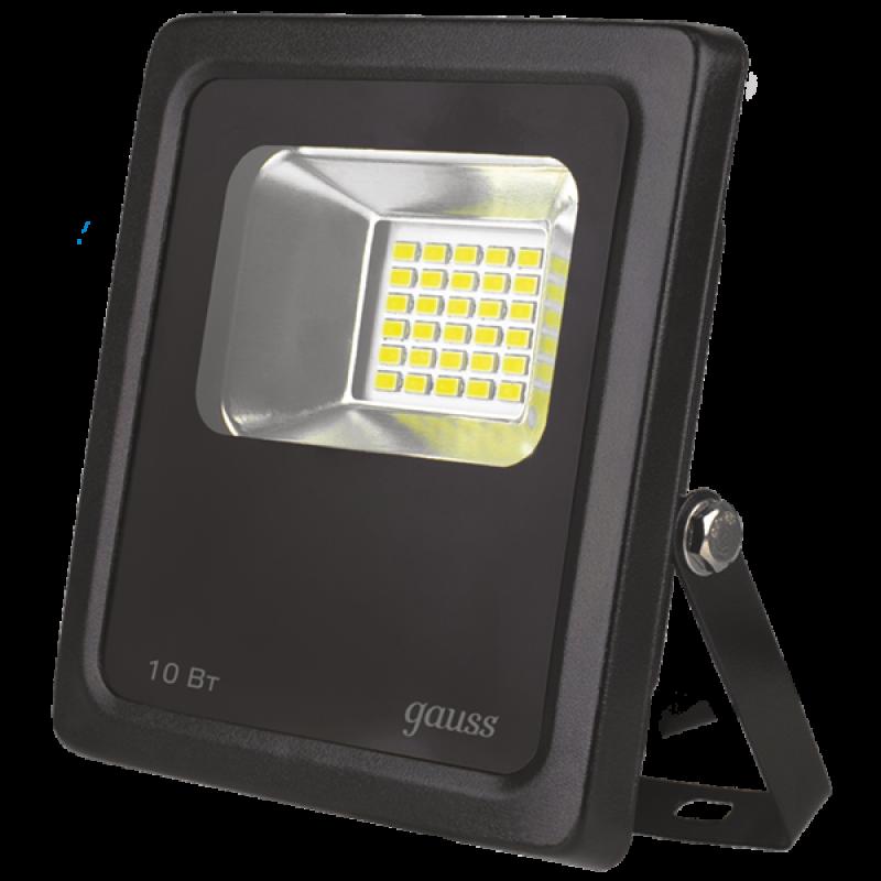 Прожектор светодиодный Gauss LED 10W 118*141*40mm IP65 6500К черный (613100310)