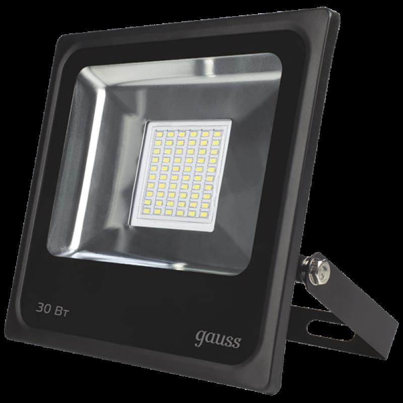 Прожектор светодиодный Gauss LED 30W 226*236*53mm IP65 6500К черный (613100330)