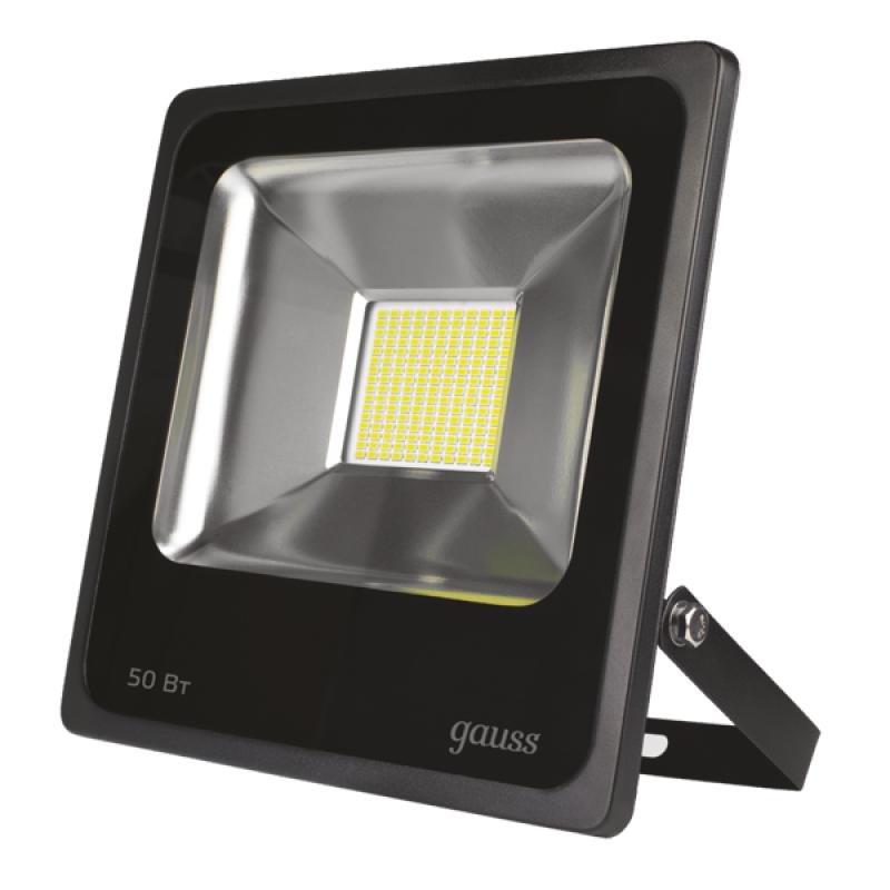 Прожектор светодиодный Gauss LED 50W 285*283*58mm IP65 6500К черный (613100350)