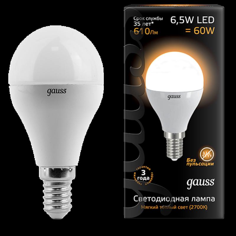 Шарообразная светодиодная лампа Gauss 6.5W E14 520lm 3000K LED (105101107)