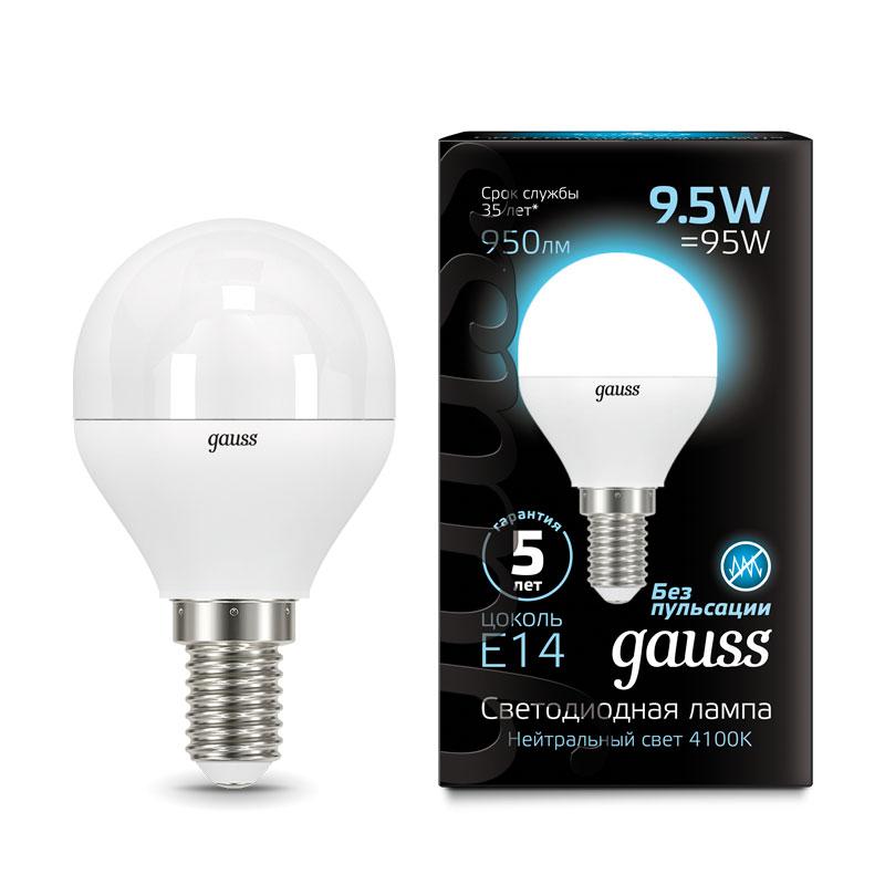 Шарообразная светодиодная лампа Gauss 9.5W E14 950lm 4100K LED (105101210)