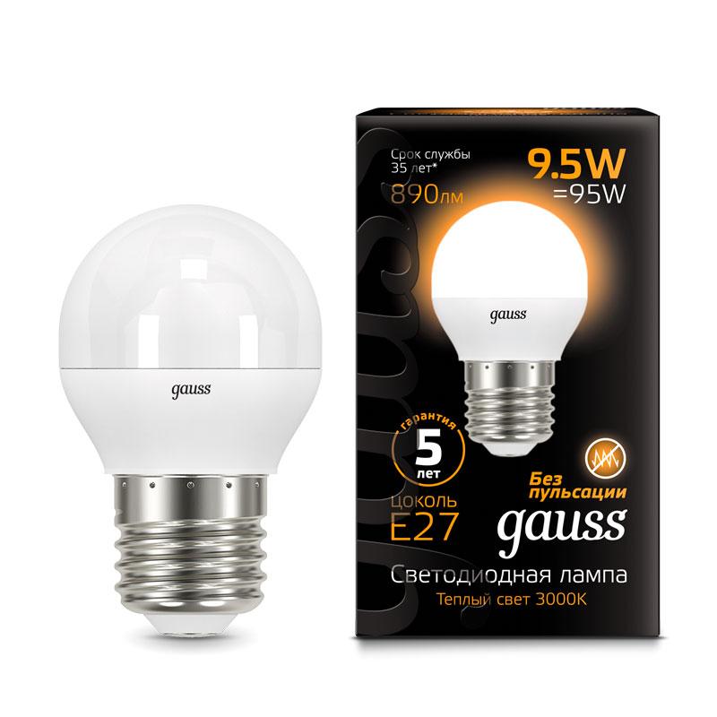 Шарообразная светодиодная лампа Gauss 9.5W E27 890lm 3000K LED (105102110)