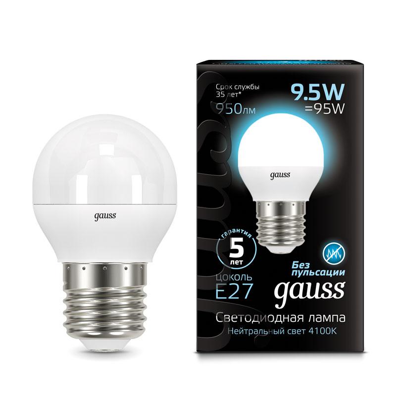 Шарообразная светодиодная лампа Gauss 9.5W E27 950lm 4100K LED (105102210)