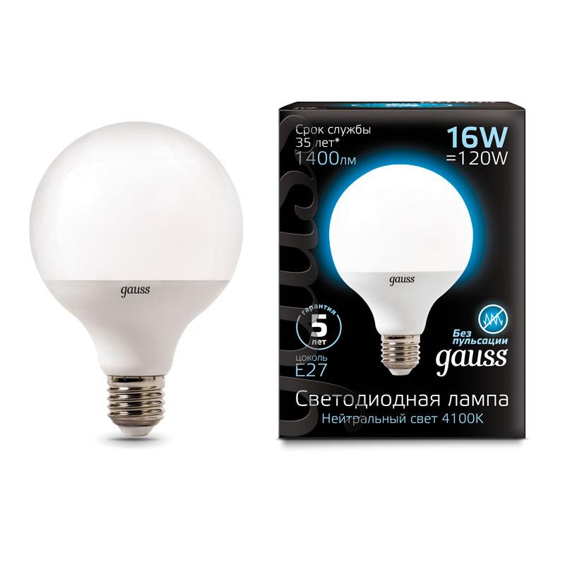 Шарообразная светодиодная лампа Gauss G95 16W E27 1400lm 4100K LED (105102216)