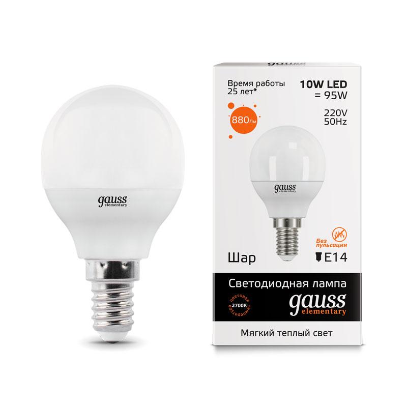 Шарообразная светодиодная лампа Gauss Elementary 10W E14 710lm 3000K (53110)