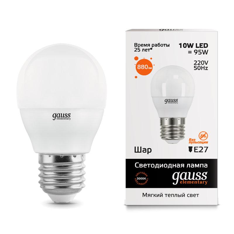 Шарообразная светодиодная лампа Gauss Elementary 10W E27 710lm 3000K (53210)