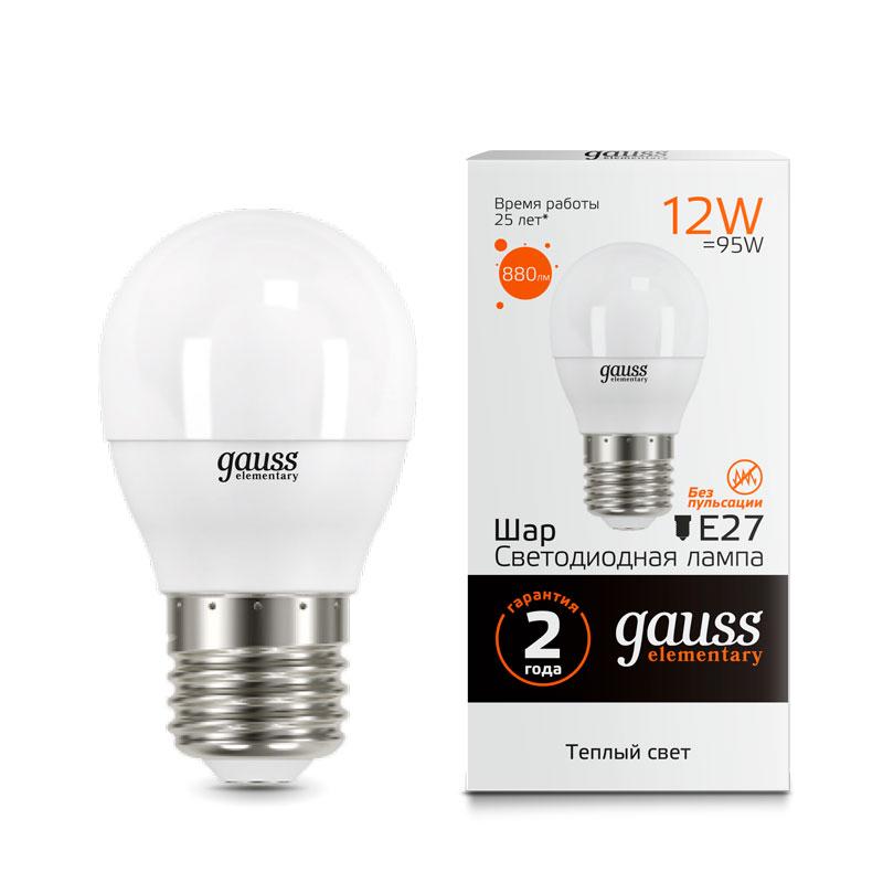 Шарообразная светодиодная лампа Gauss Elementary 12W E27 880lm 3000K (53212)