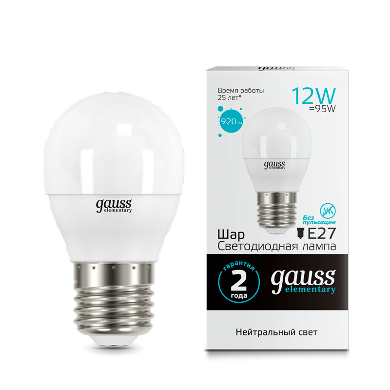 Шарообразная светодиодная лампа Gauss Elementary 12W E27 920lm 4100K (53222)