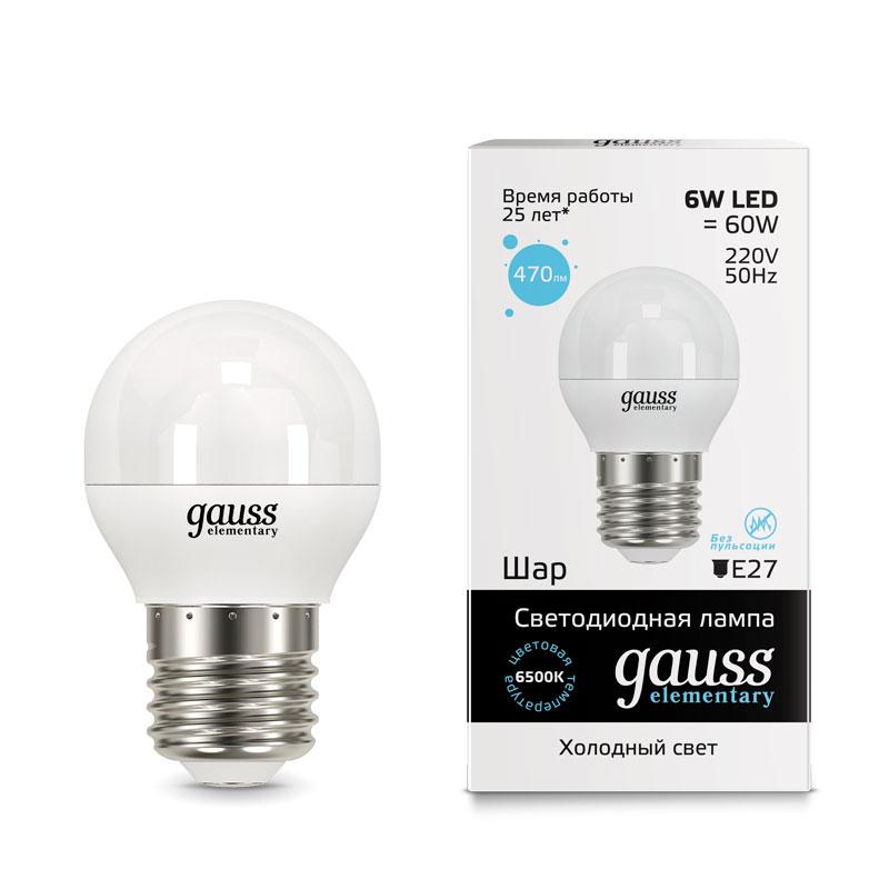 Шарообразная светодиодная лампа Gauss Elementary 6W E27 470lm 6500K (53236)