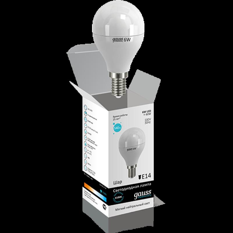 Шарообразная светодиодная лампа Gauss Elementary 6W E14 450lm 4100K (53126)