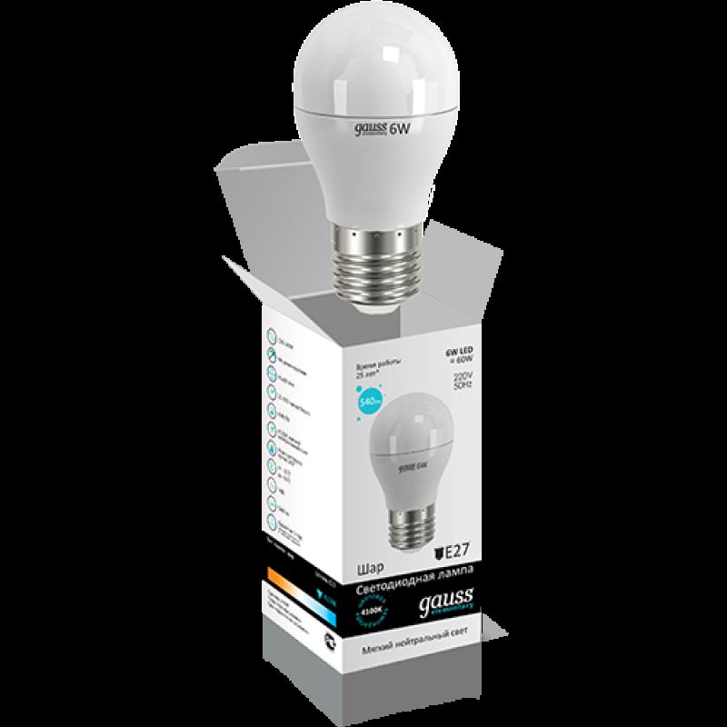 Шарообразная светодиодная лампа Gauss Elementary 6W E27 450lm 4100K (53226)
