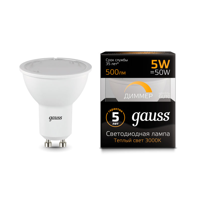 Диммируемая софитная светодиодная лампа Gauss MR16 GU10 5W 500lm 3000K (101506105-D)