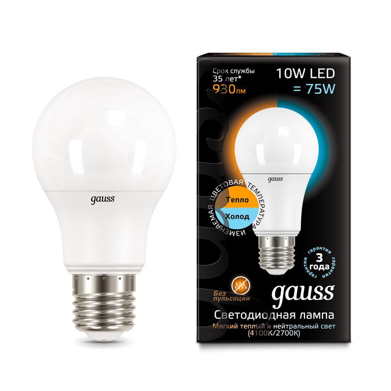 Диммируемая шарообразная лампа Gauss с изменяемой цветовой температурой A60 10W E27 930lm 2700/4100K (102502110-T)
