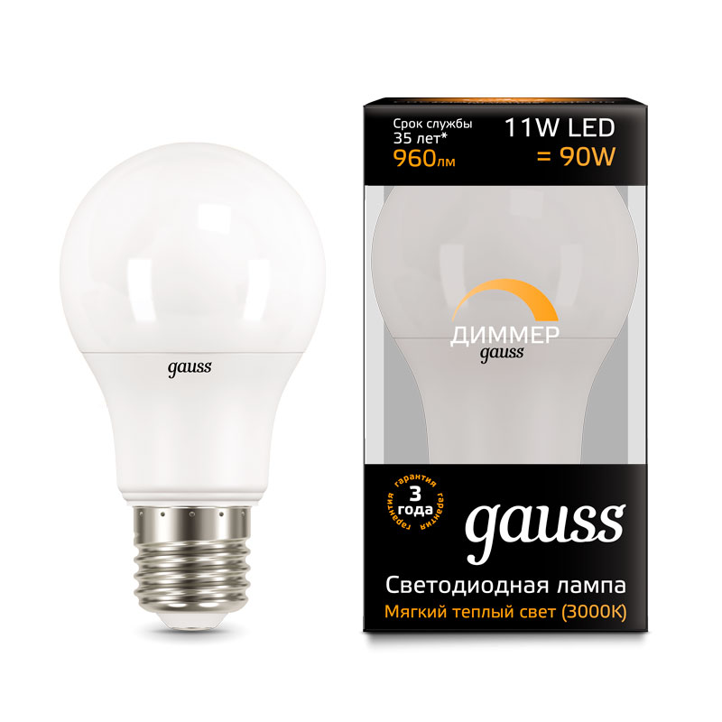 Диммируемая шарообразная светодиодная лампа Gauss A60 11W E27 960lm 3000K (102502111-D)