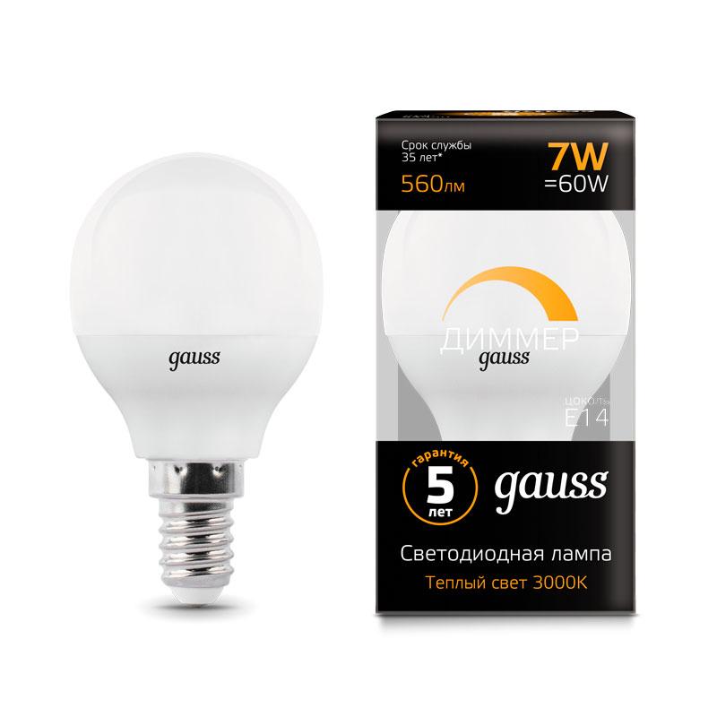 Диммируемая шарообразная светодиодная лампа Gauss E14 7W 560lm 3000K (105101107-D)