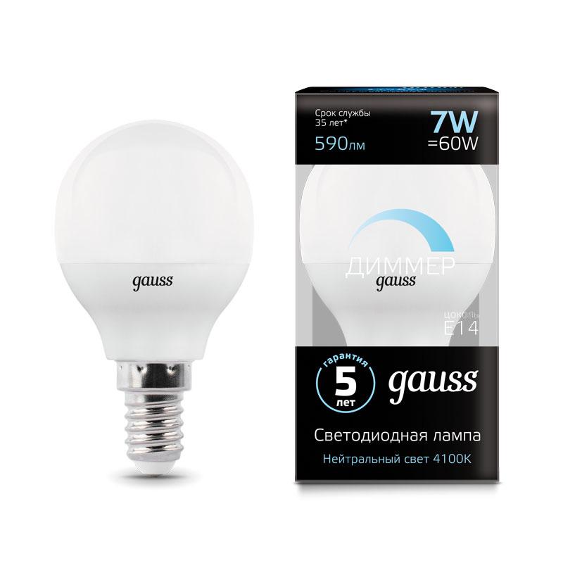 Диммируемая шарообразная светодиодная лампа Gauss E14 7W 590lm 4100K (105101207-D)