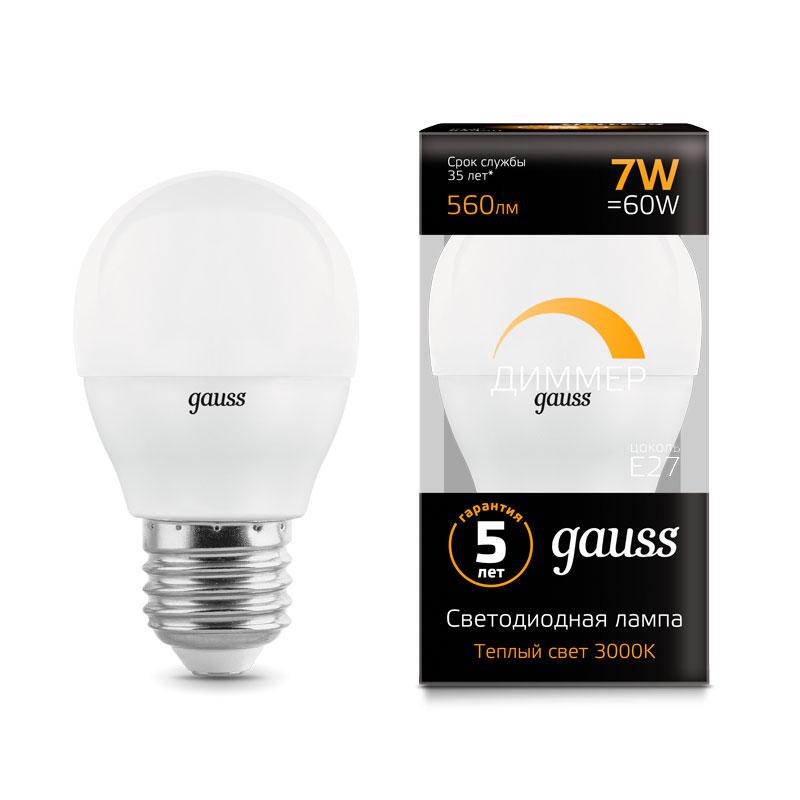 Диммируемая шарообразная светодиодная лампа Gauss E27 7W 560lm 3000K (105102107-D)
