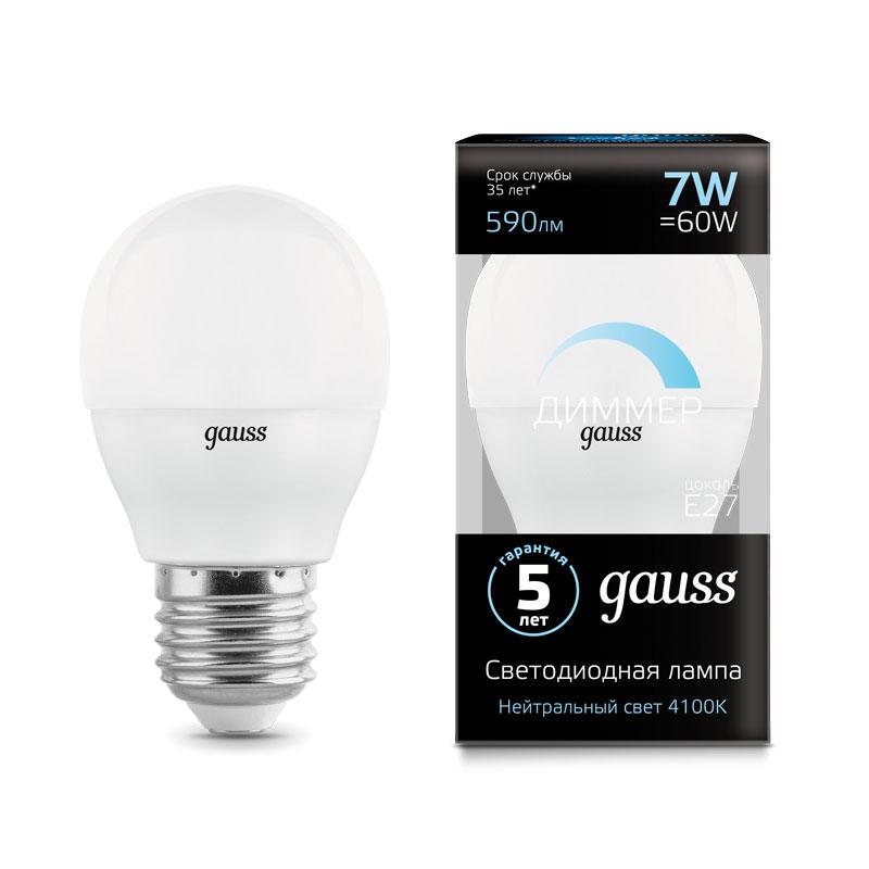 Диммируемая шарообразная светодиодная лампа Gauss E27 7W 590lm 4100K (105102207-D)