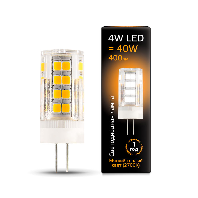 Капсульная светодиодная лампа Gauss G4 4W AC220-240V 400lm 2700K керамика (107307104)