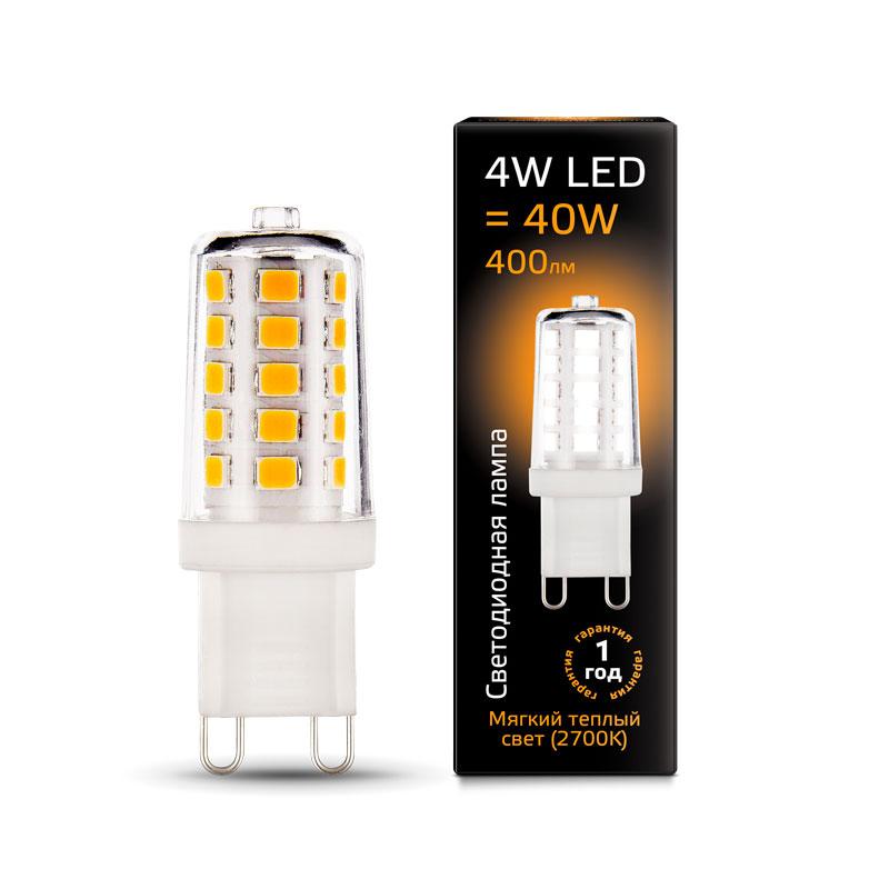 Капсульная светодиодная лампа Gauss G9 4W AC220-240V 400lm 2700K керамика (107309104)