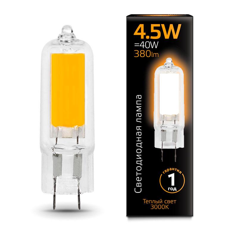 Капсульная светодиодная лампа Gauss G4 4.5W AC220-240V 380lm 3000K стекло (107807104)