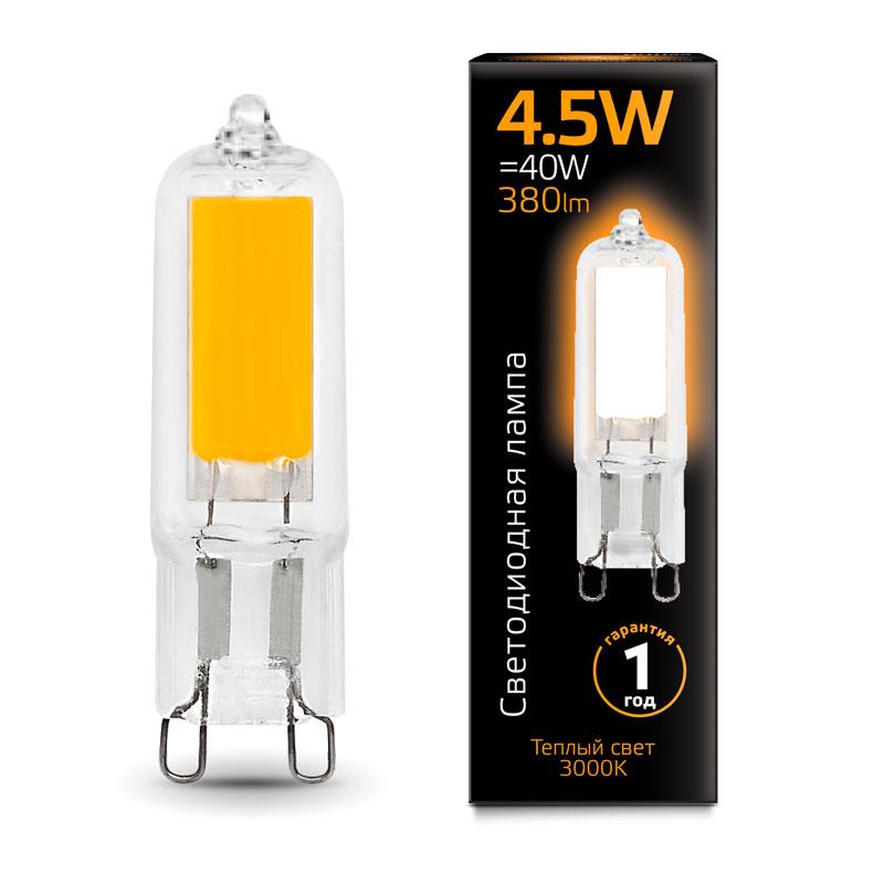 Капсульная светодиодная лампа Gauss G9 4.5W AC220-240V 380lm 3000K стекло (107809104)