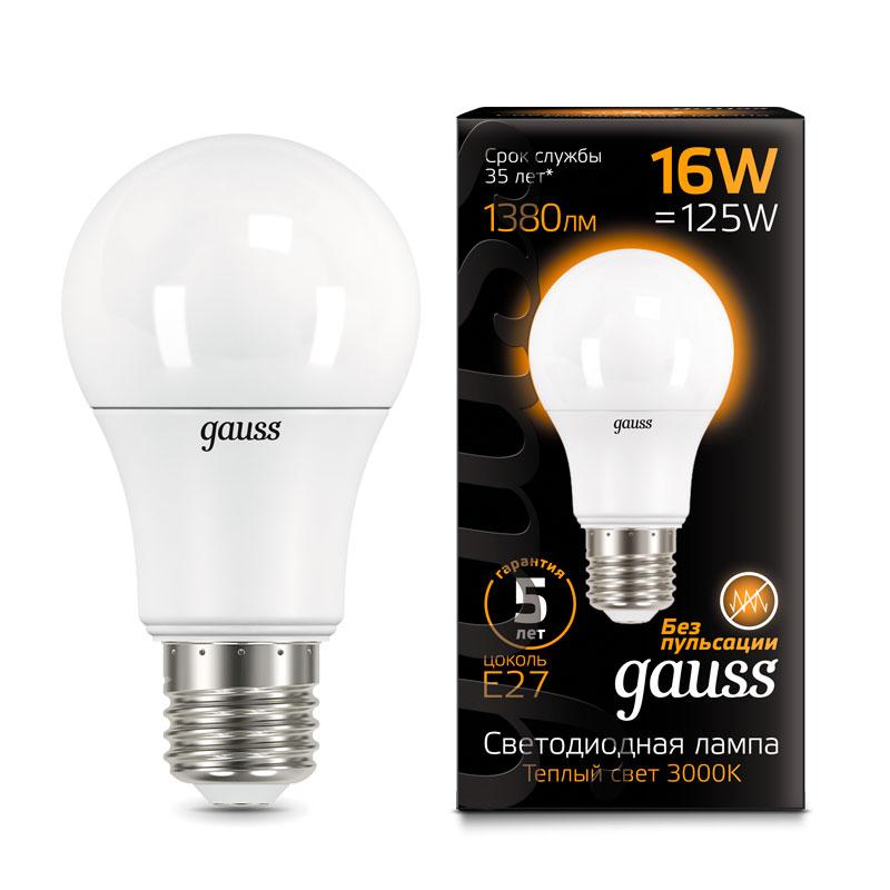 ЛОН светодиодная лампа Gauss A60 16W E27 1380lm 3000K (102502116)