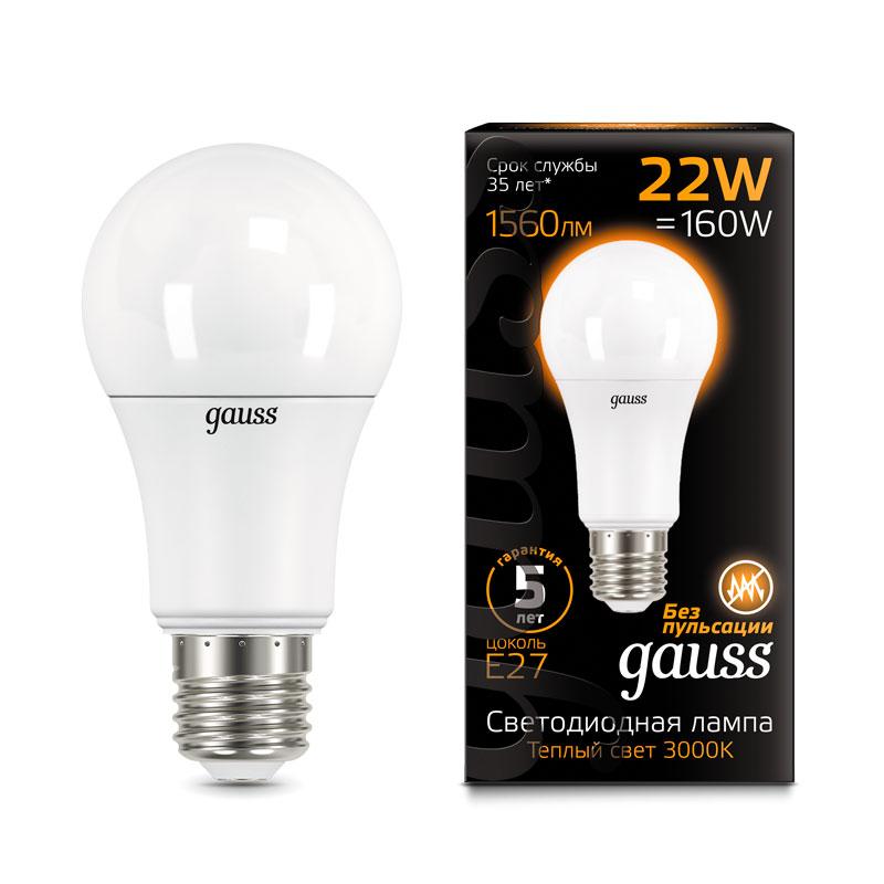 ЛОН светодиодная лампа Gauss A70 22W E27 1560lm 3000K (102502122)