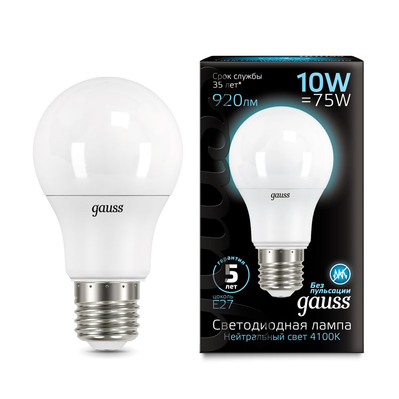 ЛОН светодиодная лампа Gauss A60 10W E27 920lm 4100K (102502210)