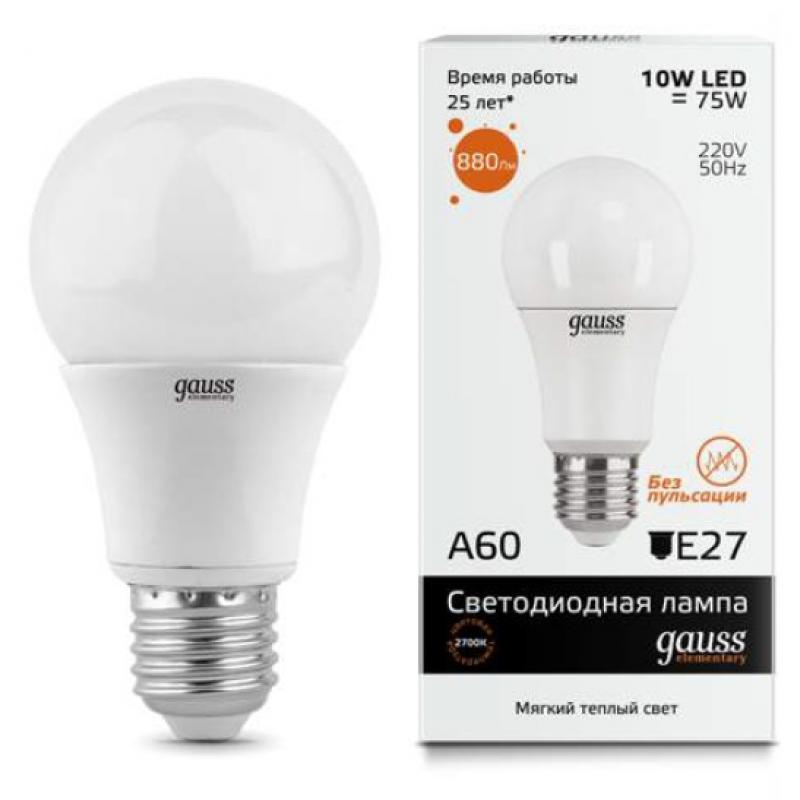 ЛОН светодиодная лампа Gauss Elementary 10W A60 E27 880lm 3000K (23210)