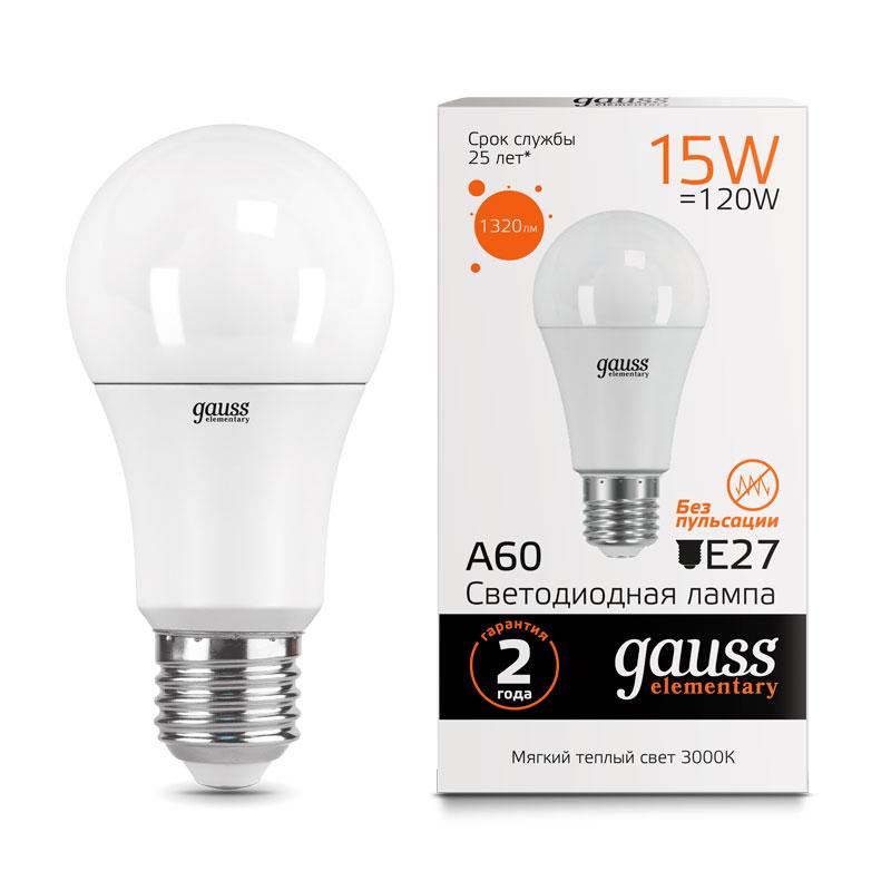 ЛОН светодиодная лампа Gauss Elementary 15W A60 E27 1320lm 3000K (23215)