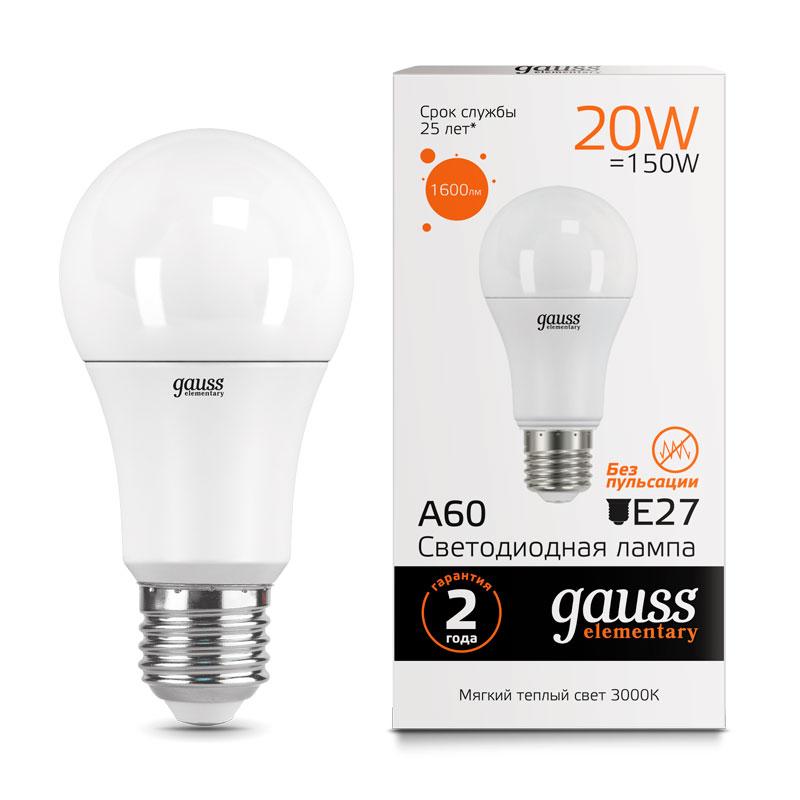 ЛОН светодиодная лампа Gauss Elementary 20W A65 E27 1520lm 3000K (23219)