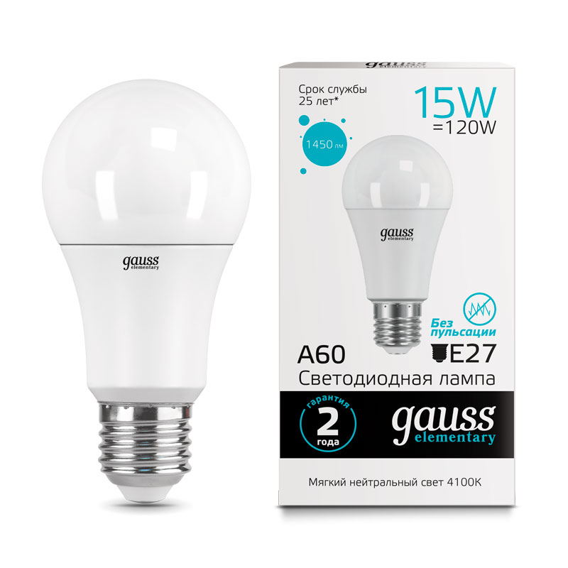 ЛОН светодиодная лампа Gauss Elementary 15W A60 E27 1450lm 4100K (23225)
