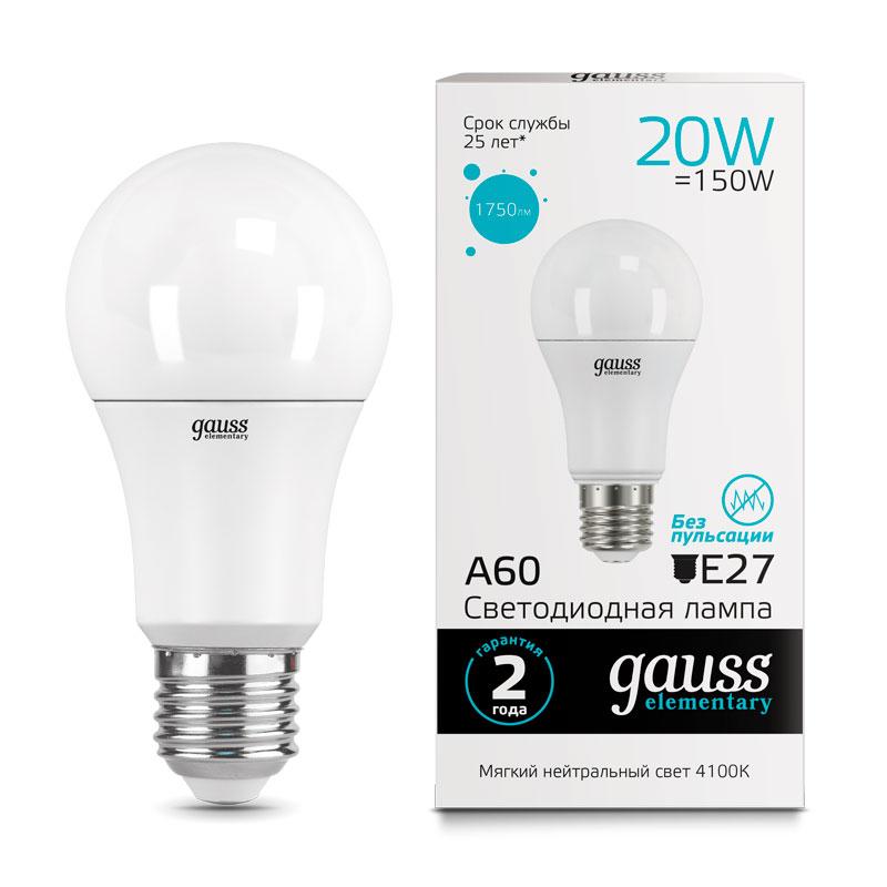 ЛОН светодиодная лампа Gauss Elementary 20W A65 E27 1600lm 4100K (23229)