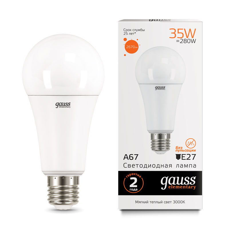 ЛОН светодиодная лампа Gauss Elementary 35W A67 E27 2670lm 3000K (70215)