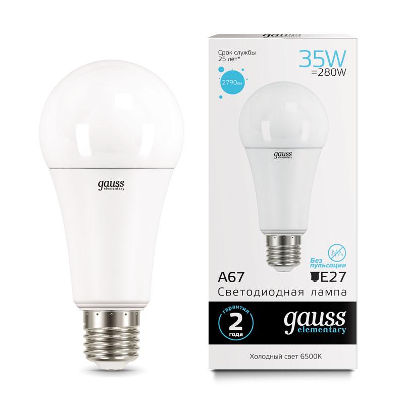 ЛОН светодиодная лампа Gauss Elementary 35W A67 E27 2790lm 6500K (70235)