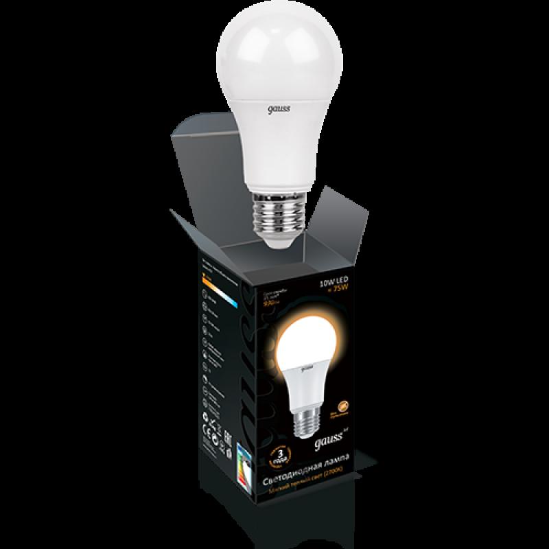 ЛОН светодиодная лампа Gauss A60 10W E27 880lm 3000K (102502110)