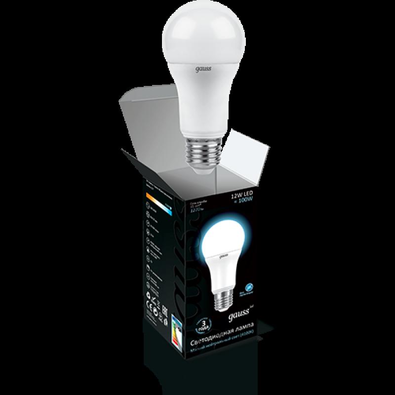 ЛОН светодиодная лампа Gauss A60 12W E27 1200lm 4100K (102502212)