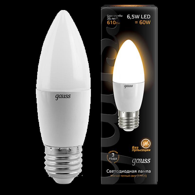 Свечеобразная светодиодная лампа Gauss 6.5W E27 520lm 3000K LED 220V (103102107)