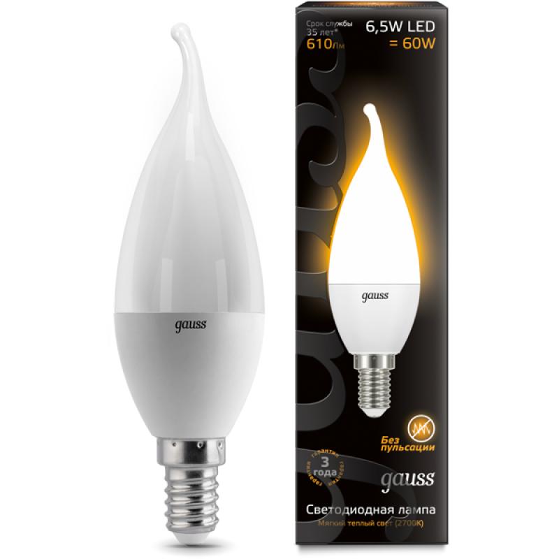 Свечеобразная светодиодная лампа Gauss 6.5W E14 520lm 3000K LED 220V свеча на ветру (104101107)